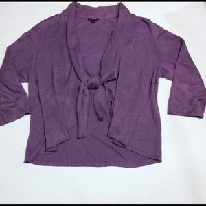 LAFAYETTE 148 purple tie front cardigan waterfall